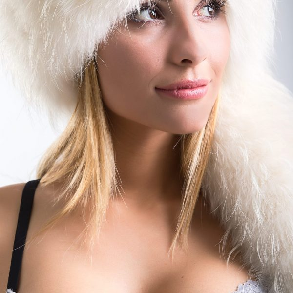 Cappello in Volpe e Racoon Bianco