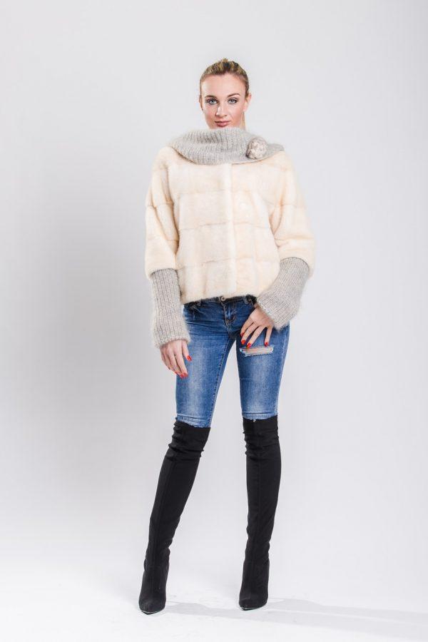 Giacca Visone maschio Perla con lana Angora 01